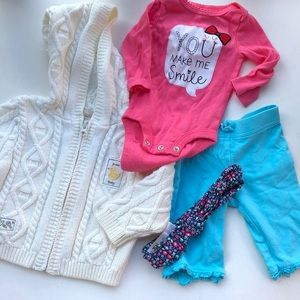 Other - BABY GIRL BUNDLE LOT 0-3 months cardigan pants